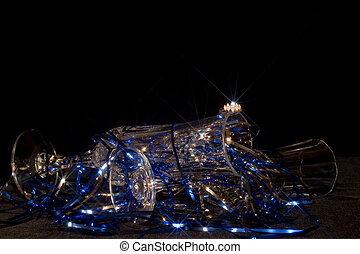 Blue Ring Flash - Crystal and tinsel with anniversary ring...