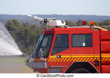Fire Engine - Fire engine spraying water
