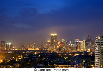 City at night - Skyline of business and commercial district...