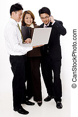 Friendly Business - Three smiling young business people...
