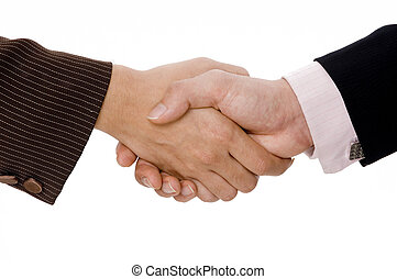 Isolated Handshake - A woman and man shake hands