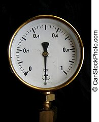 Manometer - Old manometer on black background