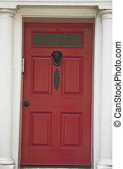 Front door - Grand and solid looking red front door.