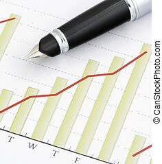 Pen on Positive Earning Graph - Close- up Pen on Positive...