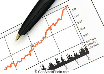 Pen on Stock Price Chart - Close-up shot of a pen on stock...