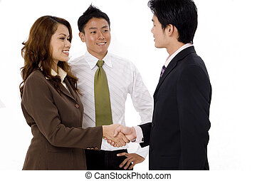 Business Team Meeting - A business team meets for the first...