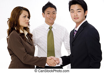 Business Group - A woman shakes hand with a young...