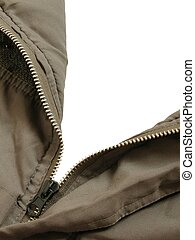 Open parka - A parka with its zipper opened to a white...