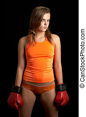 challenge - sporty girl in boxing gloves