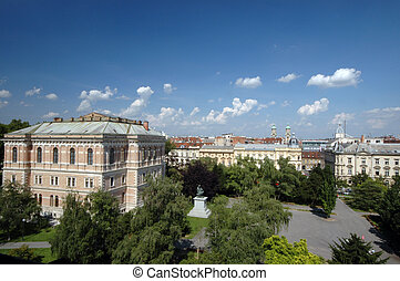 panorama of zagreb - panoramic view of zagreb croatia from...