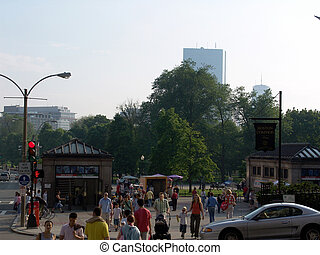 Boston common - the entrance to boston common, shows park...