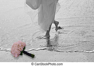 bridal toes - bride with toes in water, west Coast Pacific...