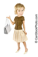 caricature of shopping woman with paper bag