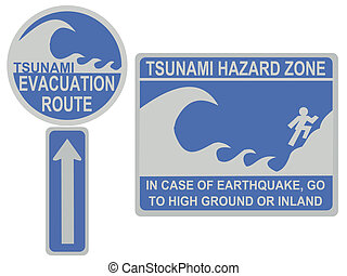 Tsunami evacuation route sign - Tsunami evacuation route and...