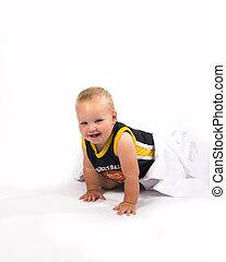 hide & seek - One year old boy playing hide & seek...