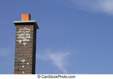 Brown Brick Chimney - Multi Brown Brick Chimney Against a...
