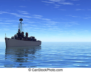 Ship at sea - Battleship In the Ocean on a calm day
