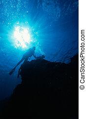 Sun Burst and Scuba Divers