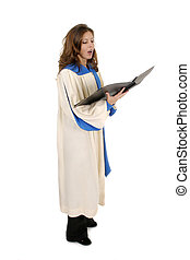 Woman In Church Robe Singing 4 - Beautiful woman church...