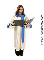mujer, en, iglesia, bata, canto, 2