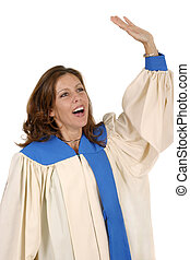Woman In Choir Robe Praising God 2 - Woman in church choir...
