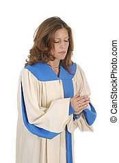 Woman In Choir Robe Praying