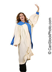 Joyful Woman In Praise - Woman in church choir robe with her...