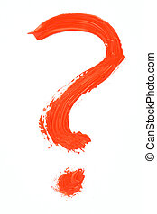 red handpainted question mark
