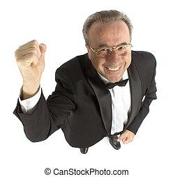 happy older man dressing tux;