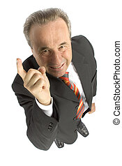 angry senior businessman - showing finger