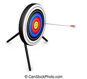 Target - 3D render of an arrow hitting a target