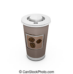 Coffee to go - 3D render of a coffee