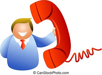 phone man - man chatting on the telephone - icon people...