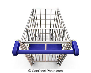 Shopping trolley - 3D render of a shopping trolley