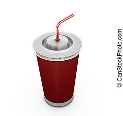 Soda drink with stra - 3D render of a soda drink with straw