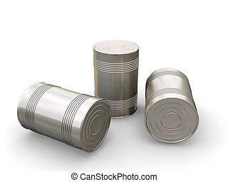Tin cans - 3D render of tin cans