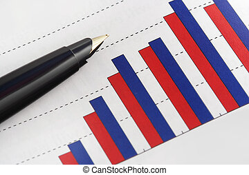 Pen on Positive Earning Graph - Still Life:Pen on Positive...