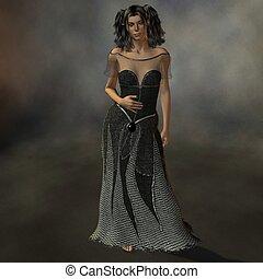 Lady in Black - 3D Render