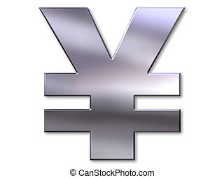 Yen symbol with silver bevel on white background