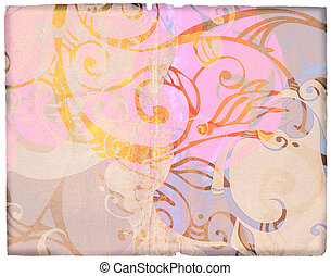 grunge designs on old paper - book spread with complex swirl...