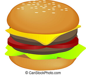 Hamburger illustration - Hamburger, isometric illustration