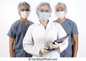 Group Medical Team - A group of three young medical...
