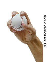 the pitch - mans hand gripping a baseball about to throw a...