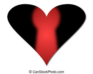 Black heart with the shape of a red keyhole on white...