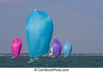 Colors At Sea - Yachts racing with coloured spinnakers...