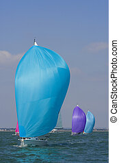 Colors At Sea Too - Yachts racing with coloured spinnakers...