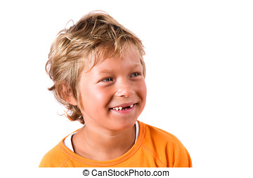 Cute blond boy - Blond boy laughing on white background