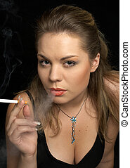 smoke - smoking woman in fancy dress