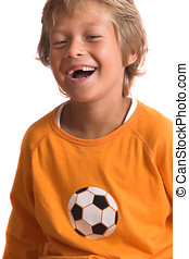 Happy young kid - Pretty blond boy laughing happily Two of...