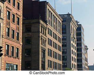 Old Buildings Tremont Street Boston - Row of old buildings...